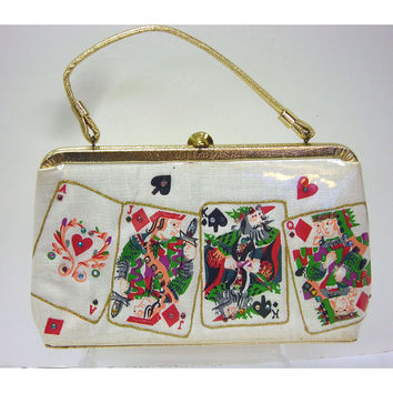 Vintage 1960s Novelty Playing Cards Handbag With Clear Vinyl Plastic Lucite Gold