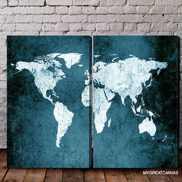 Metalic Blue Backgrounded White World Map Canvas Print | 2 Panel Canvas Art Print | Diptych Painting Retro World Map Canvas