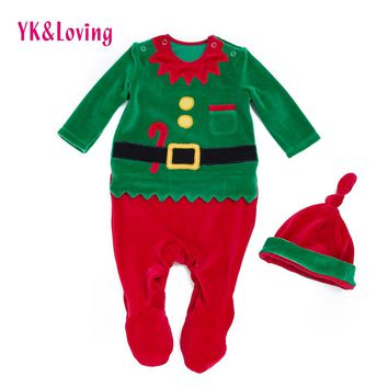 Christmas Rompers 2018 New baby Santa Claus Overalls Hat long sleeves newborn Infant Girls/boys 0-24month Clothes Party Gift