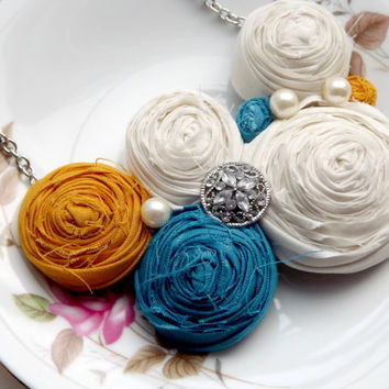 rosette necklace mustard teal and white statement necklace flower fabric jewelry wedding bridesmaid gifts summer necklace