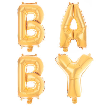 Non-Floating Baby Letter Balloons 13 Inch - Gold