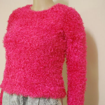 90s Vintage Pink Shaggy Jumper Kawaii Neon Club Kid Super Soft Furry Knit Kitsch Punk Grunge Sweater Vtg 1990s S-M