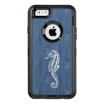 Sea Horse White Vintage Blue Wood Phone Case OtterBox iPhone 6/6s Case