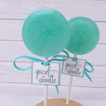 Tiffany Blue Lollipops, Tiffany Blue Favors, Tiffany Blue Party, Party Favors, Gift Ideas, Sweet Caroline Confections - -Set of Six