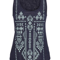Lightweight Puff Paint Ethnic Print Tank With Studs - Blue