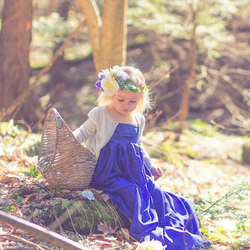 royal blue Chiffon-Jersey Girl Dress with lining and lace layered top Children gown, Matching to Chiffon Maternity Gown