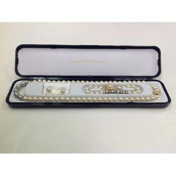 """Lead-free Glass Pearl 7mm Necklace(18""""), Bracelet and Earring Set with Crystal Rondelles and Gray Colored Pearls in Center in Gift Box"""