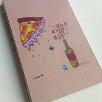 Pizza and alcohol beer food party blank 80 page journal 8.5X5.5