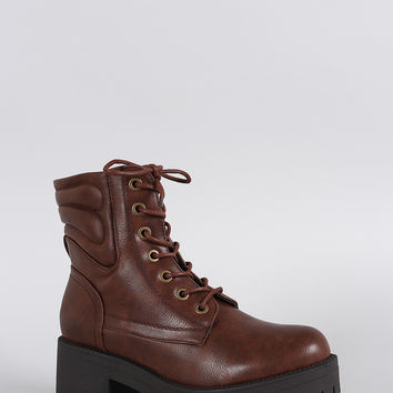 Round Toe Lace Up Lug Sole Combat Ankle Boots