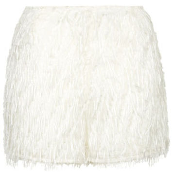 Sparkle Fringe Shorts - Cream