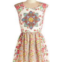 ModCloth Boho Short Cap Sleeves A-line Brilliantly Balanced Dress
