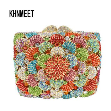 Multi color Pattern Gold Diamond Crystal Evening Bag Metal Studded Silver Women Clutch Party Purse Bag Handmade Lady bag SC257