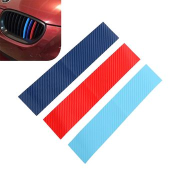 3pcs/set Car Stickers and Decals Carbon Fiber Front Grill Stripes For BMW M3 M5 M6 E46 E39 E60 E90 Auto Decoration Car-styling