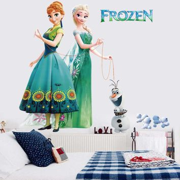 3D Wallpapers Frozen Elsa Olaf cute cartoon Girls Room Princess Wall Stickers Creative Bedroom Living Room Decorative Murals