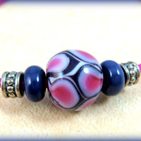 """Purple & Pink Necklace - Teen Jewelry -  Purple and Pink Lampwork Beads on Hot Pink Rubber Cord  - 19"""" Necklace"""