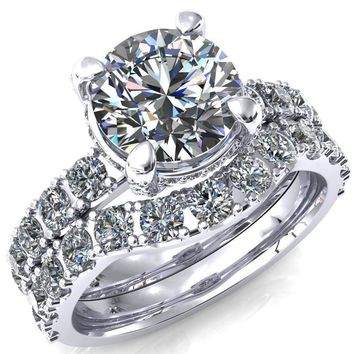 Grandeur Round Moissanite 4 Prong Basket and Half Eternity Fire Ring