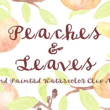 Peach Watercolor Clipart Scrapbooking Leaves Digital Files Summer Party Wedding Invitation Printable Download Floral Branch fruits Branch