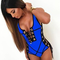 Fashion Summer New Solid Color Lace Wading Sports Vest Swimsuit One Piece Bikini Blue