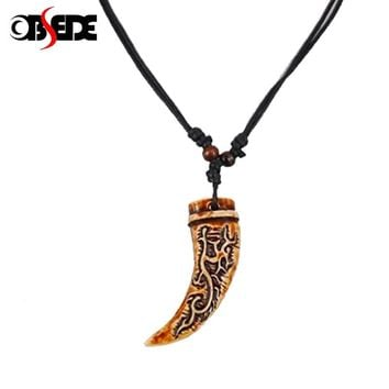OBSEDE 6 Style Women Men Brown Yak bone Carving Dragon Totem Pendant Talismans Leather Rope Chain Statement Necklace Jewelry