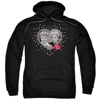 I Love Lucy 50's TV Series Hearts And Dots Adult Pull-Over Hoodie