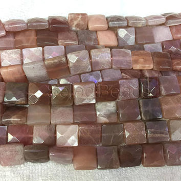 sunstone faceted square beads - natural sunstone gemstone beads - faceted sunstone necklace beads - beads for fine jewelry designs -15inch