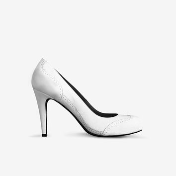 Levi Thang British High Heel Italian Leather Shoes White