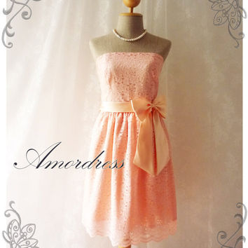 Princess Romance - Pink Old Rose Lace Dress Gorgeous Party Prom Bridesmaid Wedding Cocktail Dinner Evening Dress