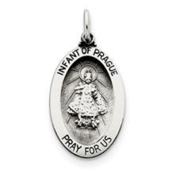 Antiqued Infant of Prague Medal, Beautiful Charm in Sterling Silver
