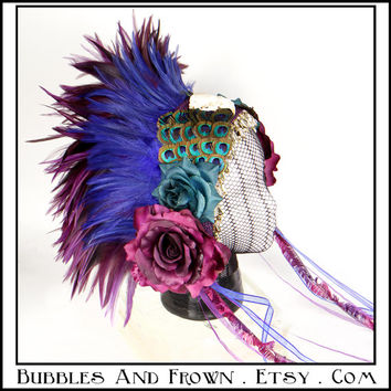 Queen Plumage... Feather Headband in Peacock and Purple Theme