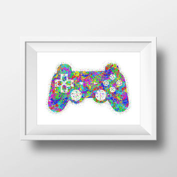Gaming Poster, Playstation Controller, Color Splatter, Retro Print