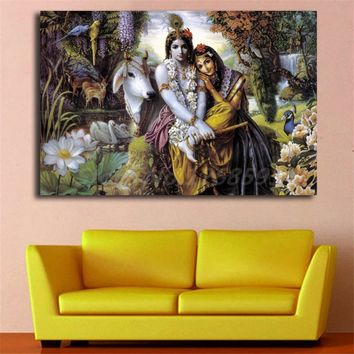 Hindu God Radha Krishna Love 2 HD Wall Art Canvas Poster and Print Canvas Painting Decorative Picture for Living Room Home Decor