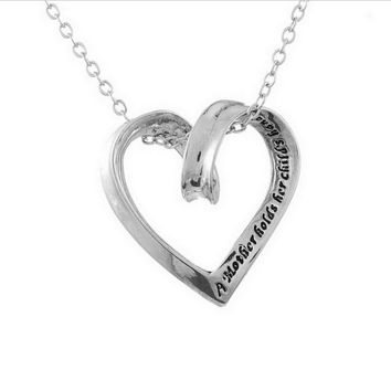 Moms - A mother hold's her child's hand - Silver Heart Necklace