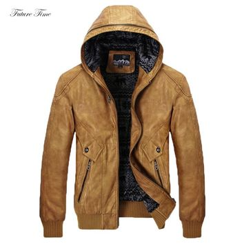 Men Jacket PU Leather Vintage Classic Solid Color Hooded Thick Warm 2018 Winter Man Jackets and Coats Motorcycle Fleece C1590