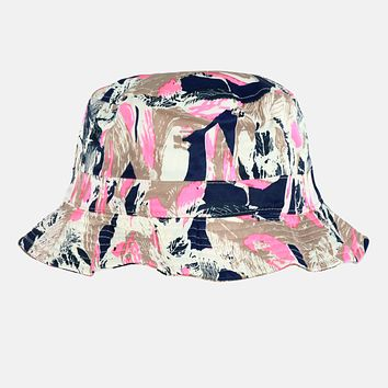 Palm Leaves Navy Pink Bucket Hat