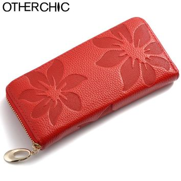 New European Genuine Leather Floral Women Wallets Red Large Zipper Long Wallet Women Flower Phone Pouch Female Purses 1121