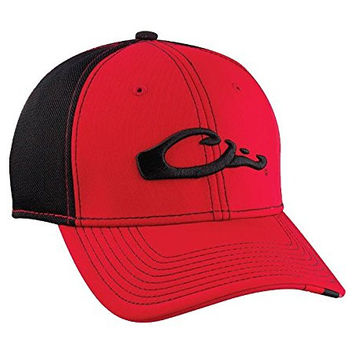 Drake Waterfowl Game Day Fitted Hat Georgia Black & Red XL/2XL