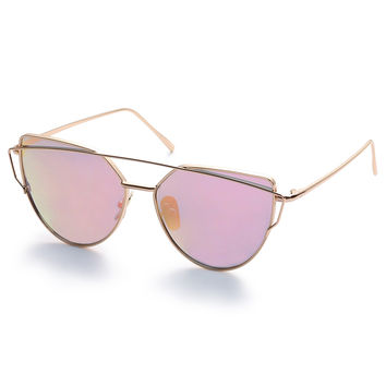 Gold Metal Frame Double Bridge Pink Lens Sunglasses | MakeMeChic.COM