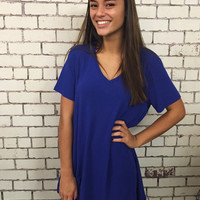I Just Think You're The Best Shirt Dress - Royal Blue