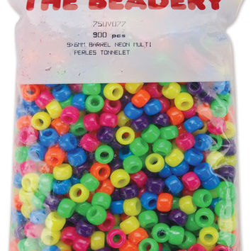 pony beads 6x9mm 900/pkg-neon multi
