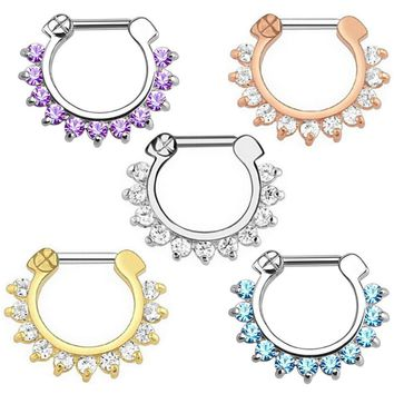 1 PC High Quality Hot Unique 1.2*10mm Zircon Aztec Septum Clicker Nose Ring Stud Nose Piercing Stud Earrings Body jewelry