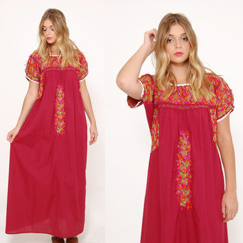Vintage MEXICAN Dress Burgundy EMBROIDERED Ethnic Hippie Dress Boho Festival Dress Tent Dress Maxi Dress