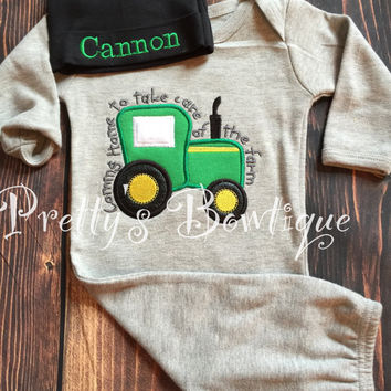 Newborn baby Boy gown and Hat Set Personalized with Name - Coming Home Farm Baby Outfit -- Farm outfit --