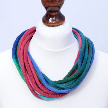 Chic multistrand twist necklace in beautiful colors - stylish, elegant, wool, felt jewelry - twisted multi strand necklace [N118]