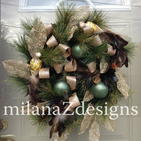 Glitzy Christmas Wreath, Winter Wonderland Decorations, Chanukkah Wreath, Gold and Teal Holiday Door Decor, Birds with Feathers and Ornament
