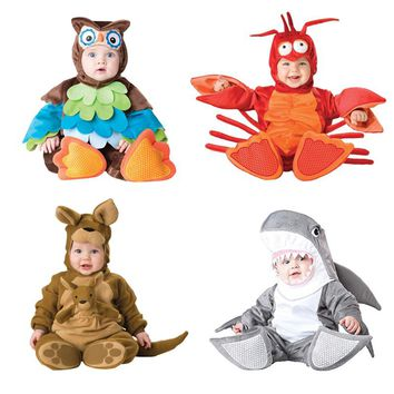 Baby Christmas Halloween Cosplay Costume Animal Shark Lobster Kangaroo Rompers Jumpsuit Boys Girls Clothes Set Kids Outfits