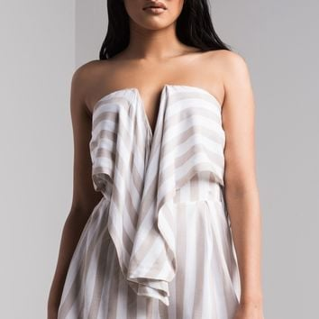 AKIRA Strapless Striped Tie Front Romper in Taupe