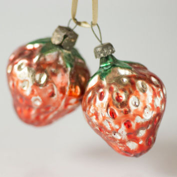 Mid century glass decorations strawberries Christmas ornaments red shade Soviet New Year's ornament Christmas tree trim