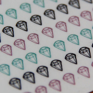 Gem Diamond Illustrated Mini Temporary Tattoos / Nail Transfer Pack