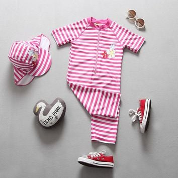 2018 Summer Baby Swimwear Lovely Children Girls Swimming Suit Miraculous Ladybug Striped Swimsuit with UV Suncreen Cap UPF50+