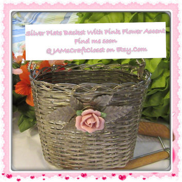 Unique Vintage Woven Silver Plate Basket Pink Ceramic Rose Accents - Collectible - Home Decor - Gift Idea -Basket Collector-Silver Collector